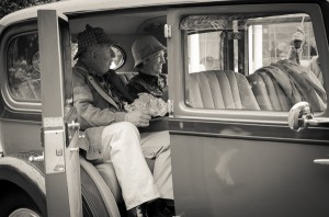 Having lunch in the car to escape the rain - vintage style.