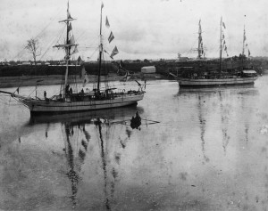 An image of one of the early ships used to bring South Sea Islanders to Queensland