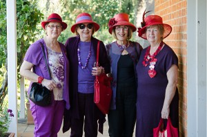 Red Hat Society ladies enjoying a day out