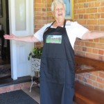 Ormiston House apron modelled by the fabulous Bev! $20 each.