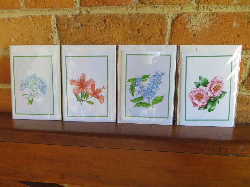 Botanical cards, designed by Ormiston House volunteer Lois. $2 each or $8 for five cards.